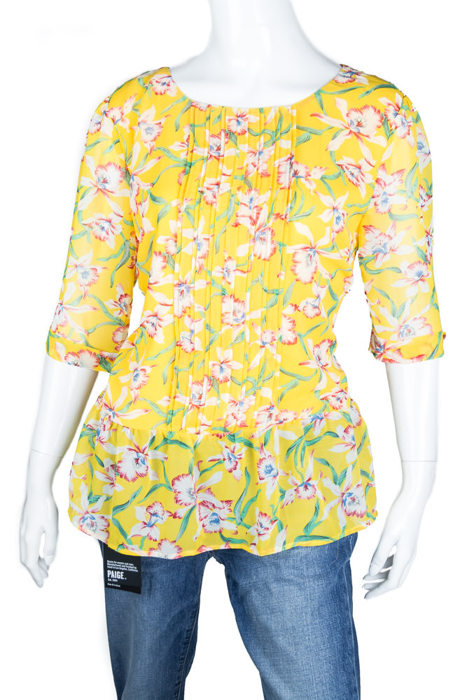 Anthropologie Yellow Floral Blouse